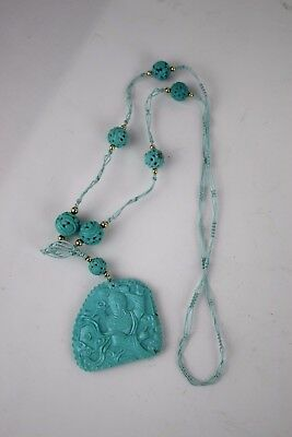 Chinese carved turquoise Kwan Yin & Dragon Pendant Necklace Carved Beads