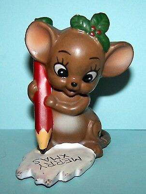 Josef Originals LARGER CHRISTMAS MOUSE WRITING MERRY XMAS ON PAPER, EXC!
