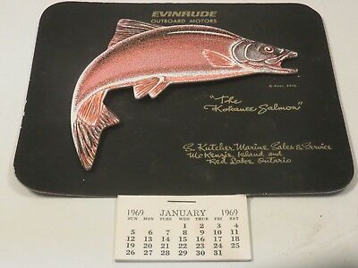 Vintage Evinrude Outboard Motors 1969 Pictograph Calendar 3D Leaping Salmon