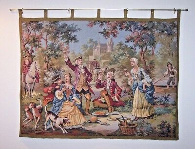 """VINTAGE BELGIUM Tapestry Wall Hanging 40""""x54"""" Castle Rambouillet Bound w/ Rod"""