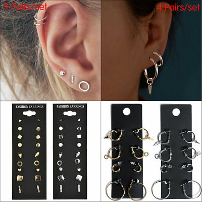 4/9Pairs Stud Earrings Set for Women Round Small Geometric Piercing Earring