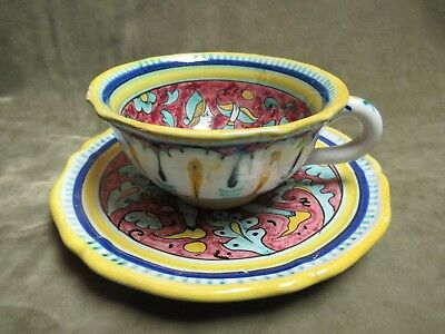 Vintage Made in Italy Man and Woman Design Art Pottery Coffee Cup and Saucer