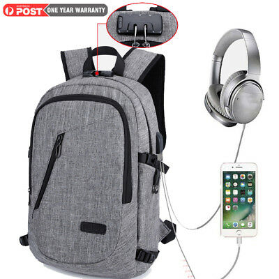 Fashion Business Backpack USB Charging Port Fits Laptop Anti Theft Water Resista