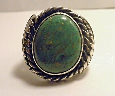 John Platero Navajo Vintage Bold  Sterling & Turquoise Ring-Sz 10