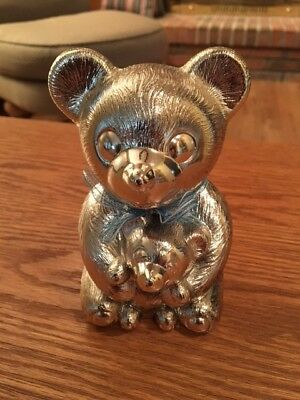 Silverplated Bear Bank with Blue Bow