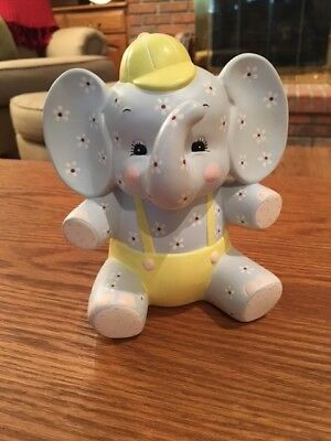 Cute Ceramic Blue and Yellow Elephant Bank