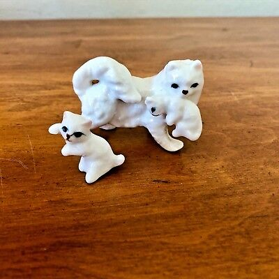 Vintage Bone China WHITE Mother Cat & Kittens Miniature Figurines