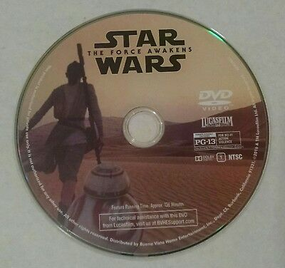 ***star Wars The Force Awakens Dvd Disc No Case No Digital Like New***