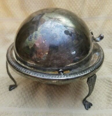 Vintage Butter Dish Silver on Copper F.B. Rogers Co 172 w Glass Insert 1883
