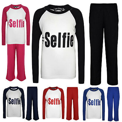 "Kids Boys Girls PJ's "" #SELFIE "" Printed Stylish Pyjamas New Age 5-13 Years"