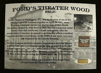 FORDS THEATER WOOD RELIC * Historic Rare Authentic Lincoln Washington Civil War