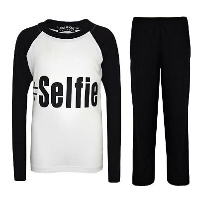 "Kids Girls PJ's "" #SELFIE "" Printed Stylish Black Pyjamas New Age 5-13 Years"