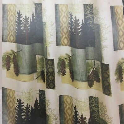 Bacova Lodge Cabin Hunting Shower Curtain Pine Trees Cones Majestic Portrait NEW