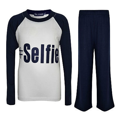 "Kids Boys PJ's "" #SELFIE "" Printed Stylish Navy Pyjamas Loungewears 5-13 Years"