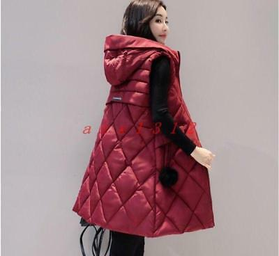 Women Winter warm grid Hooded Coat Long Jacket Sleeveless Cotton coats