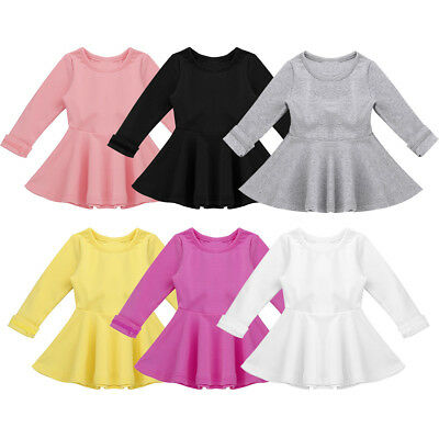 Baby Girls Long Sleeve Tops Ruffled Dress Toddler Cotton Blouse Solid Playwear