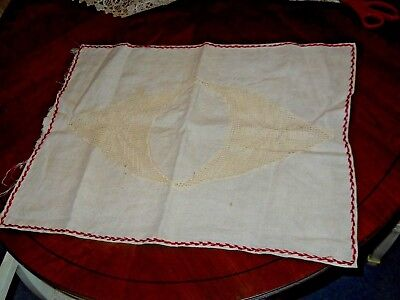 Antique Victorian Crochet & Linen Pillow Cover Crochet doily applique red stich
