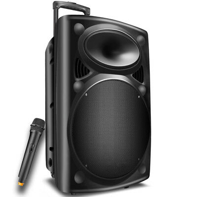 "1500W 12"" Bluetooth USB Speaker Portable With Remote Audio PA DJ Party Speaker"
