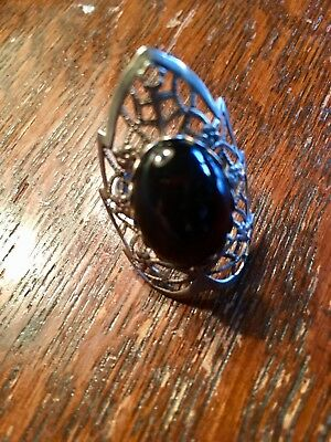 Gothic Medieval Ring Silver Tone Filigree Dark Amber Glass Stone Engraved Band