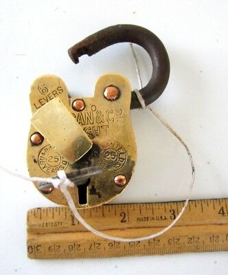 $300! Vintage Old Antique Hand Made 6 Lever Vulcan & Co, Etc.brass Lock Iron Key