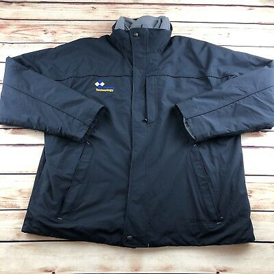 LL Bean Mens Black Softshell Insulated Waterproof Winter Jacket Embroidered XL