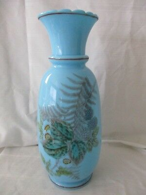 Antique robin egg blue bristol art glass vase blackberries fern pattern 11.5""