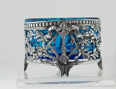 Small Reticulated French Silver Open Salt Cellar, Medium Blue Liner 1866-1888