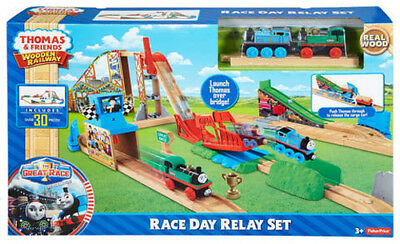 Fisher Price Thomas & Friends Wooden Railway Race Day Relay Set Brand New Dfw97