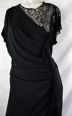 Chic 40s Asymmetrical Lace Peplum Evening Dress Ruched Draped Black Cocktail