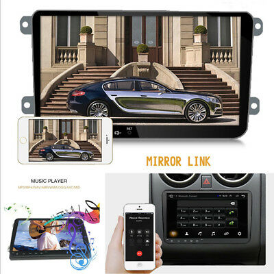 "9"" 2Din HD Touch Screen Android 8.0 GPS Nav Stereo MP5 Player Wifi For VW Skoda"