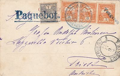 post card: Hungary-Adria Ship cancel: Paquebot to Triest