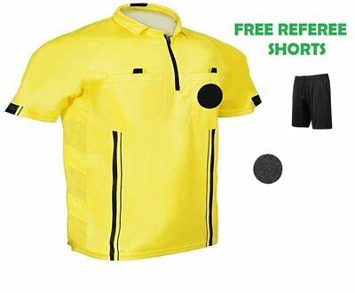 4e2f9cb9d 1 Stop Soccer Pro Referee Soccer Jersey Short Sleeves Free Referee Shorts