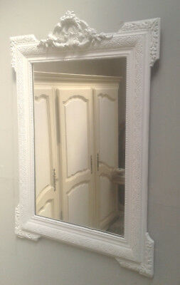 SUPERB DECORATIVE CRESTED FRENCH ANTIQUE PAINTED MIRROR c1900