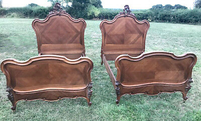 WONDERFUL PAIR OF FRENCH ANTIQUE CUSTOM SINGLE WALNUT ROCOCO BEDS - c1890