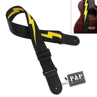 Adjustable Guitar Strap Yellow Lightning Pattern with Genuine Leather Head