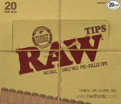 Raw Natural Unrefined Pre-Rolled Filter Tips Full Box Of 20 (21 Per Packs)