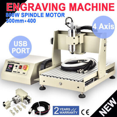 800W Spindle 4AXIS 3040 USB ROUTER ENGRAVER ENGRAVING CUTTER DESKTOP CUTTING USA