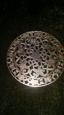 "WEBSTER STERLING SILVER GLASS 6"" TRIVET ANTIQUE vanity tray bottle coaster"