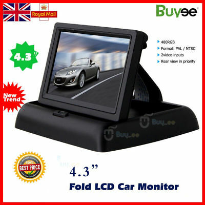 "Foldable 4.3"" Color LCD TFT Reverse Rear View Monitor for Car DVD Back Up Camera"