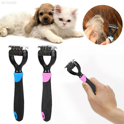 96A3 Pet Dog Fur Long Hair Knot Cutter Remove Rake Grooming Comb Metal Blade