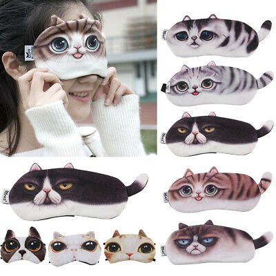 3D Cartoon Animal Eye Mask Ombra Coprire Blindfold Rest Sleep Eyepatch nuovo IT