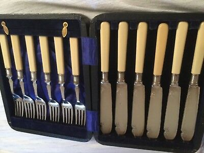 Boxed Antique Victorian Silver Fish Knife And Fork Set Hallmarked