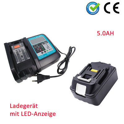 5Ah 18V Akku für Makita BL1850 B BL1840 Li-Ion LXT BL1830 +DC18RC caricabatterie