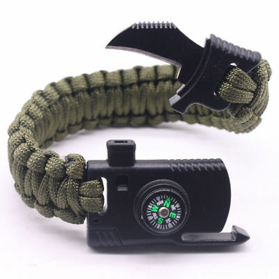 2019 Survival Bracelet Paracord Knife Whistle Magnesium Fire Starter Compass Kit