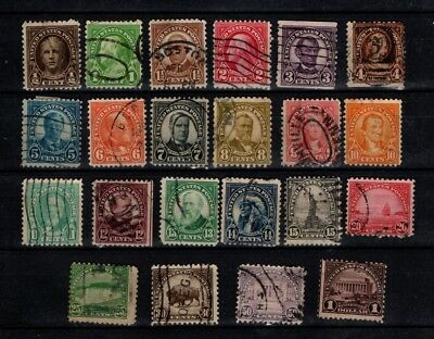 United States 1922 Heads and scenes selection to $1 22 stamps Used