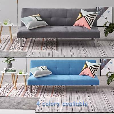 3 Seater Fabric Sofa Bed Sofabed Blue Grey Camel Cinnamon Faux Suede Home Office