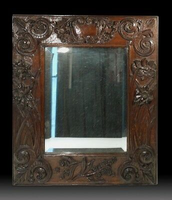 Rare & Unique 18th 19th Century Wall Mirror in Carved Oak Frame.