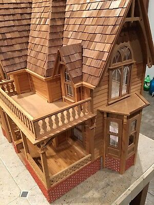 Large Victorian/Gothic Touch Wooden Dollhouse - 7 rooms, Ready to Decorate