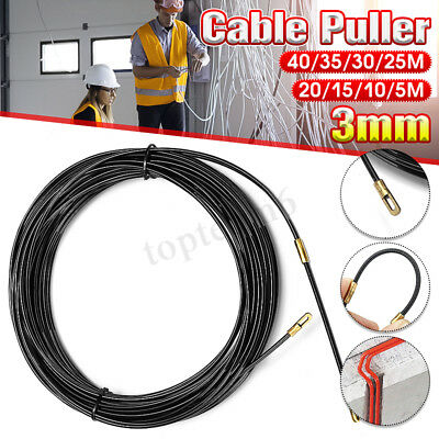 5m-40m Draw Tape Fiberglass Electrical Fish Cable Wire Wheel Puller Pulling 3mm