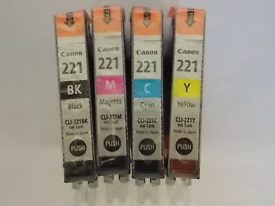 NEW Canon CLI-221 4 Pack B/C/Y/M Ink Tanks GENUINE!